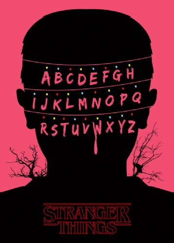 2010's Movie - STRANGER THINGS - ALPHABET PINK canvas print - self adhesive poster - photo print